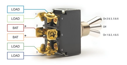 functions like two separate spdt switches operated by the same actuator   only two loads can be on at a time