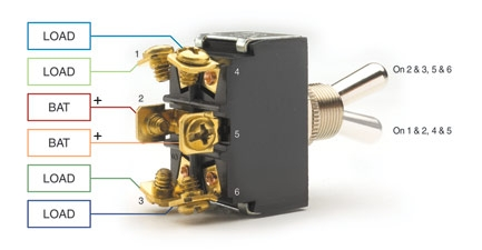 functions like two spearate spdt switches operated by the same actuator   only two loads can be on at a time